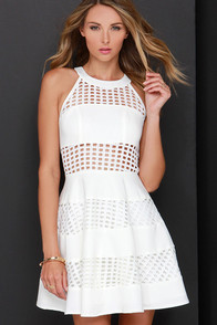 Fly Freely Ivory Skater Dress at Lulus.com!