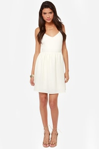 Girl's World Cutout Ivory Dress at Lulus.com!