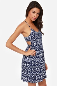 Eye of Isis Navy Blue Print Dress at Lulus.com!