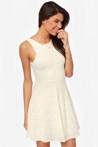 Beautiful Lace Dress Cream Dress Skater Dress 45 00