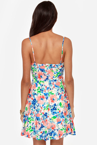 Fleur-ocious Blue and Coral Floral Print Dress at Lulus.com!