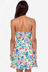 Fleur-ocious Blue and Coral Floral Print Dress at Lulus.com!