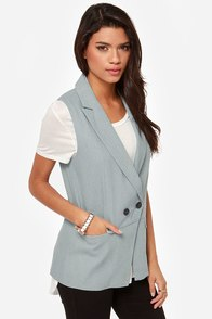 Chambray-by Got Back Blue Vest at Lulus.com!