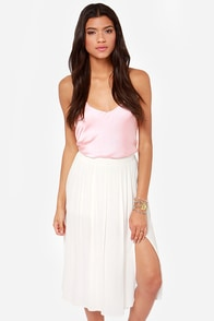 Chic Your Mind Ivory Midi Skirt at Lulus.com!