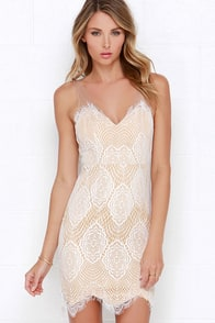 Luxe for Life Ivory Lace Dress at Lulus.com!