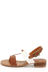 Mia Cali Cognac and White Thong Sandals