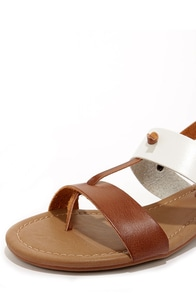 Mia Cali Cognac and White Thong Sandals at Lulus.com!