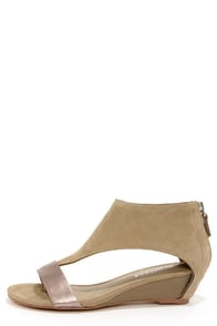 Matisse Reach Grey Suede Leather Ankle Cuff Wedges
