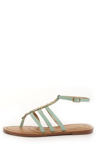 Restricted Olyvia Mint and Gold Embellished Thong Sandals
