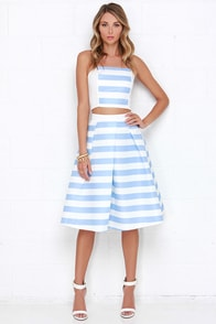 La-Di-Da Ivory and Blue Striped Two-Piece Dress at Lulus.com!