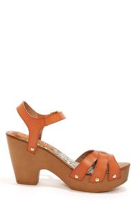 Madden Girl Cindiee Cognac Platform High Heel Sandals at Lulus.com!