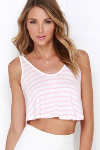 Single File Pink Striped Crop Top at Lulus.com!