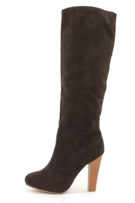 Dollhouse Embrace Black Suede Knee High Heel Boots