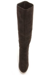 Dollhouse Embrace Black Suede Knee High Heel Boots at Lulus.com!