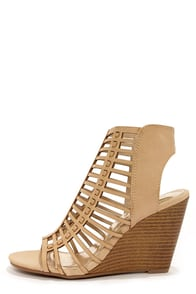 Madden Girl Coasterr Natural Cutout Wedge Booties