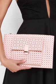 Doil Me Twice Laser-Cut Blush Pink Clutch at Lulus.com!