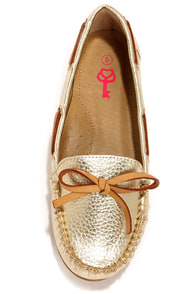 Pink Key Sandra Gold Moccasin Flats at Lulus.com!