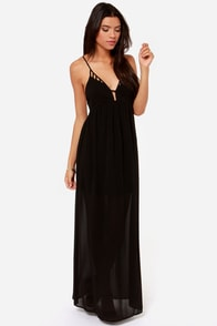 Oh So Coy Backless Black Maxi Dress
