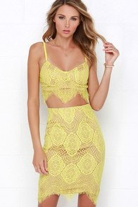 Star of the Stage Yellow Lace Two-Piece Dress at Lulus.com!