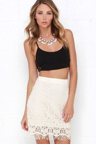 Say Your Prairies Cream Lace Skirt at Lulus.com!