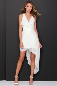 Elegant Gathering Ivory High-Low Dress at Lulus.com!