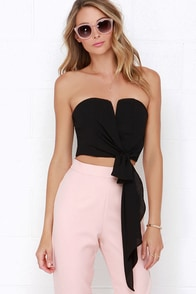 Be My Guest Black Strapless Crop Top at Lulus.com!