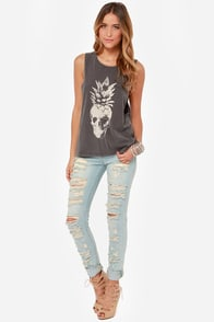 Volcom Skulltown Washed Black Muscle Tee at Lulus.com!