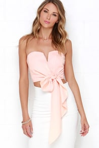 Be My Guest Peach Strapless Crop Top at Lulus.com!