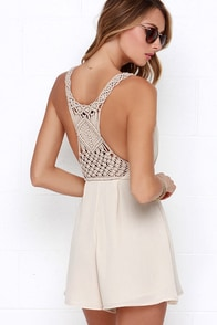 Line in the Sand Beige Romper at Lulus.com!