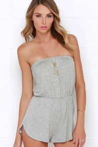 La Revolucion Heather Grey Strapless Romper at Lulus.com!