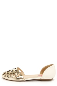 Pink Key Dynasty Gold Multi Cutout D'Orsay Flats