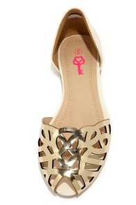 Pink Key Dynasty Gold Multi Cutout D'Orsay Flats at Lulus.com!
