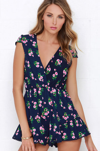Reverse Another Day in Paradise Blue Floral Print Romper at Lulus.com!