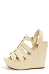 Soda Ansa Off White Strappy Platform Wedges