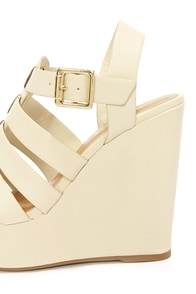 Soda Ansa Off White Strappy Platform Wedges at Lulus.com!