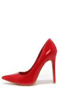 Aisle Be Waiting Red Patent Pointed Pumps at Lulus.com!