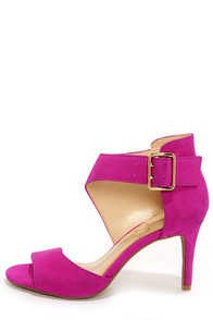 Jessica Simpson Marrionn Twilight Magenta Suede Leather Heels