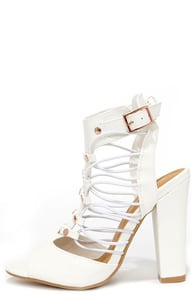 Pacific Prim White Caged Heels at Lulus.com!