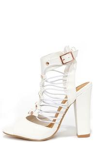 Pacific Prim White Caged Heels at Lulus.com!
