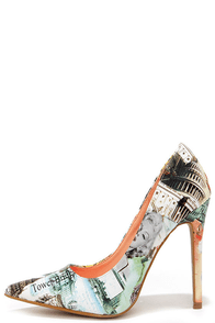 Read All About It Multi Print Pointed Pumps at Lulus.com!
