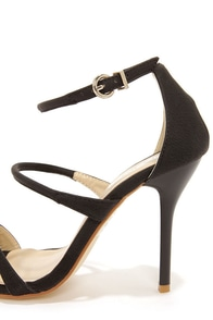 Fiebiger Silver Fox Black Ankle Strap Heels at Lulus.com!