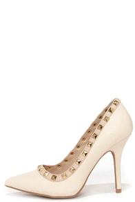 Pyramid Scene Stone Studded Pointed Pumps at Lulus.com!