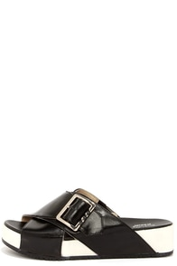 Dr. Scholl's Flight Black and White Leather Slide Sandals at Lulus.com!