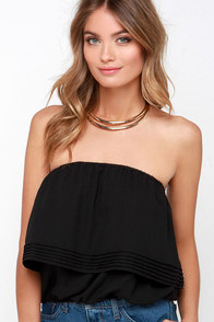 Sweet Emotion Black Strapless Crop Top at Lulus.com!