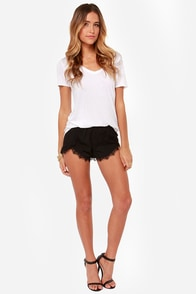 Do Tell Black Lace Shorts at Lulus.com!
