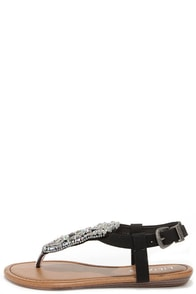 Oasis Life Black Beaded Thong Sandals at Lulus.com!