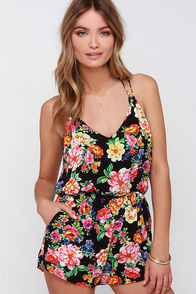 Lucca Couture Botanical Daze Black Floral Print Romper at Lulus.com!