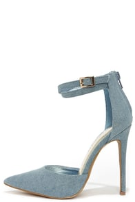 Dream of Jean-ie Blue Denim Ankle Strap Heels at Lulus.com!