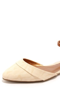 Promise Wira Nude and Tan D'Orsay Pointed Flats at Lulus.com!