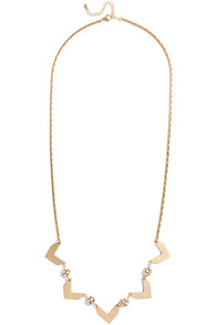 Bling Your Partner Gold Rhinestone Chevron Necklace at Lulus.com!